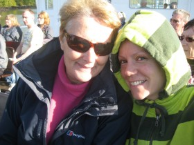 Me and my mum larking about on boat
